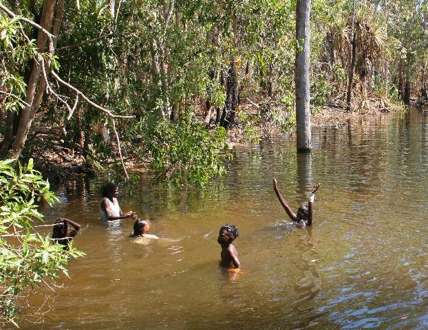 Tiwi kids counting in a waterhole